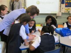 Students Learning During Oprah's Visit
