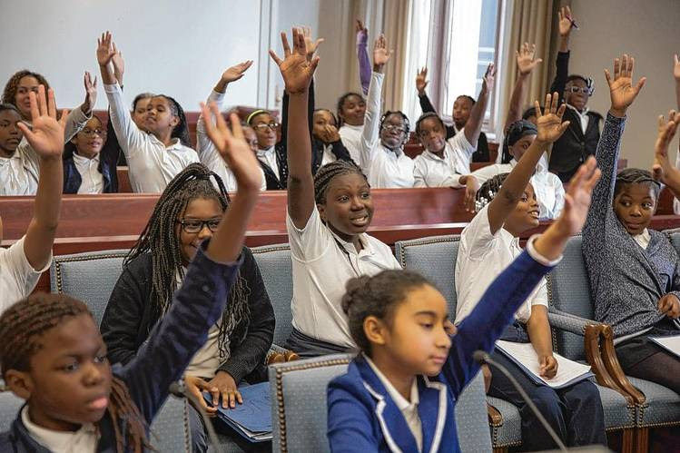 Girls Prep Bronx fifth-graders in court at a mock trial.